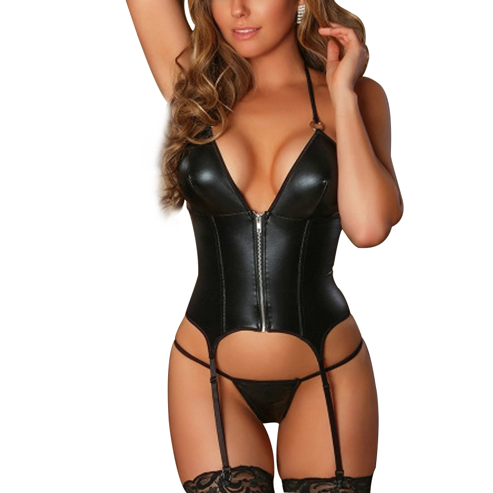 Women Zipper Sexy Underwear Thong With Garter Lenceria Set Porno Teddy Sex Corset Erotic Costumes Babydoll Sexy Leather Lingerie
