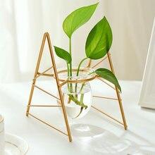 Terrarium Kreative Wasserkulturanlage Transparent Vase Eisen Rahmen Vase Deco Glas Tabletop Pflanze Bonsai Decor Blume Vase
