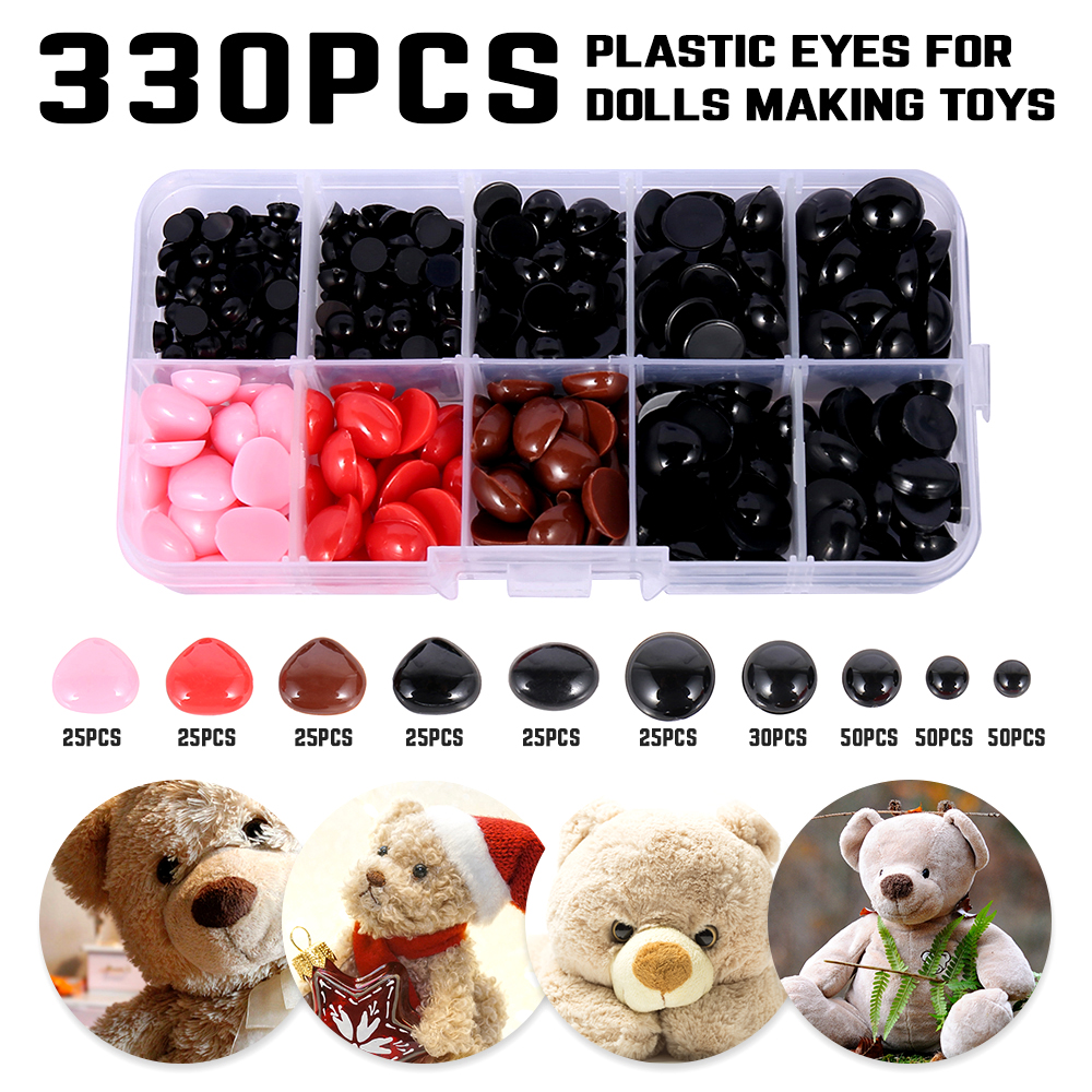 205 Round Flat Eyes+125 Nose Triangle Nose Plastic Eyes For Dolls Making Toys Teddy Bear Dolls Eyes Amigurumi Making Accessories