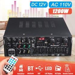 5,0 bluetooth 2 Kanal 2000W Audio Power HiFi Verstärker 326BT DC 12V/220V AV Amp Lautsprecher mit Fernbedienung 4 Micro eingang