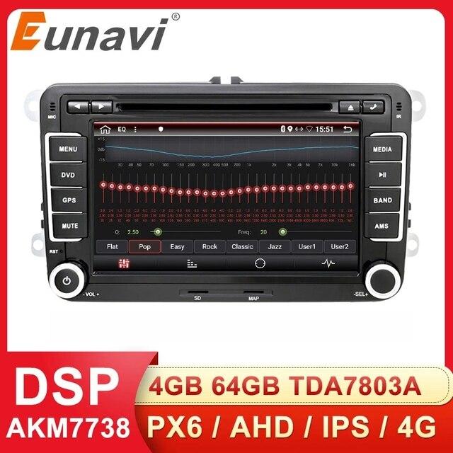 Eunavi 2 דין אנדרואיד DVD לרכב אוטומטי רדיו מולטימדיה עבור פולקסווגן גולף 5 פולו בורה ג טה B6 פאסאט Tiguan סקודה אוקטביה טוראן GPS DSP