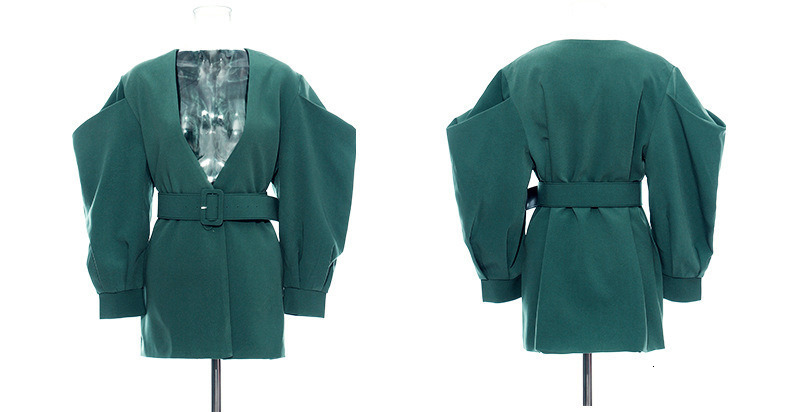 [EAM] 19 New Autumn Winter V-collar Long Batwing Sleeve Fold Split Joint Green Loose BandageJacket Women Coat Fashion JL083 23