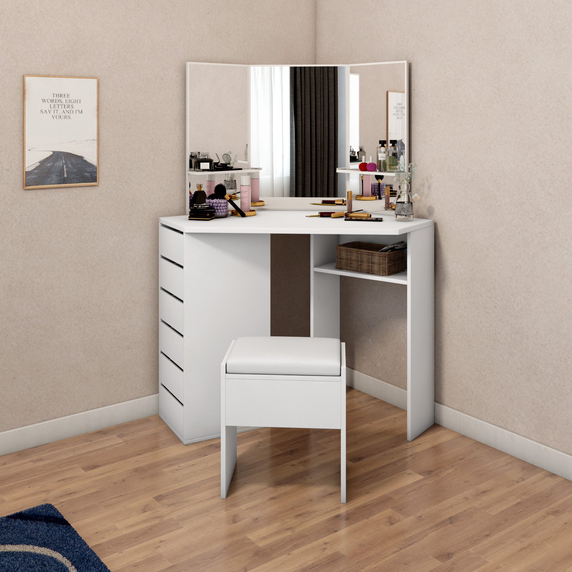 Modern Corner Dressing Table Makeup Curved Mirror with Stool