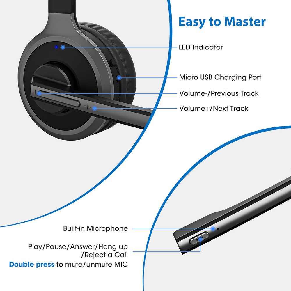 2019 mpow m5 pro fones de ouvido sem fio bluetooth over-ear krystal claro cancelamento de ruído fones de ouvido com microfone & base de carregamento