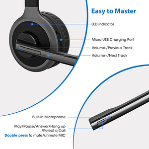 Image 5 - Mpow M5 Pro 무선 헤드폰 Bluetooth Over Ear Krystal PC 노트북 용 마이크 충전베이스가있는 소음 제거 헤드폰