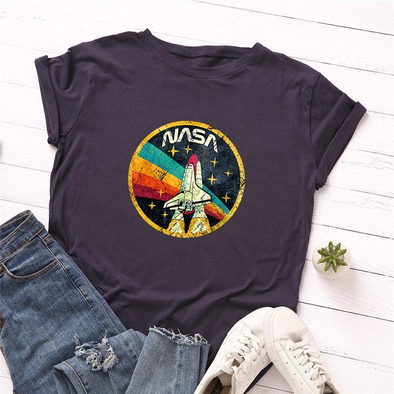 Plus Size S-5XL New ROCKET Print T Shirt Women 100%Cotton O Neck Short Sleeve Summer TShirt Tops T Shirts Funny T Shirts(China)