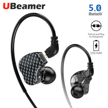 Ubeamer S3 earphone Bluetooth 5.0 dual battery 135mAh changeable wire 6D sound wireless headset for sports and mobile phone