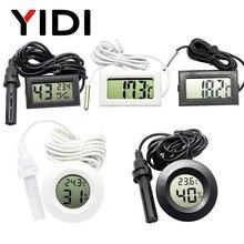 Mini lcd digital termômetro higrômetro medidor testador sonda incubadora aquário medidor de umidade temperatura sensor detector