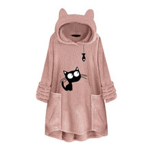 Cat Print Long Hoodies Sweatshirt Women Fleece Warm Embroidery Pocket Pullovers Plus Size Cat Ear Top Hoodie Blouse Sweat Femme(China)