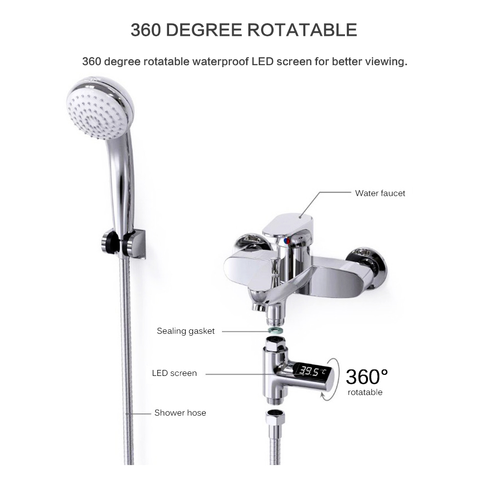 H6e3afcac08cb447cbc02dfcf408bc28an LED Temperature Display Bathroom Shower Faucet Electricity Water Temperature Monitor for Baby Care Digital Faucet Thermometer
