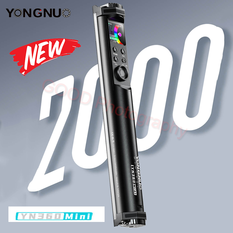 Yongnuo yn360 mini tubo vara luz 2700k-7500k rgb colorido bi-color 2600mah iluminação fotografia led rgb luz suave handheld