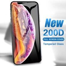 200D tam kapak koruyucu cam üzerinde iPhone SE için 11 Pro Max X Xs XR temperli ekran koruyucu iPhone 8 7 artı 6 6s cam