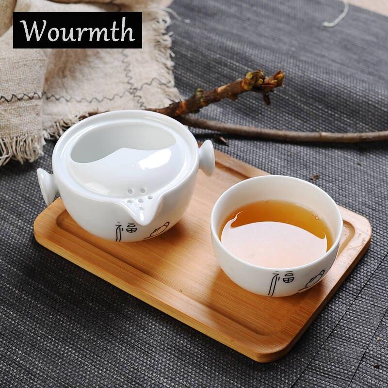 China White Porcelain Quick Cup 1 Teapot 1 Teacup Ceramic Kungfu Travel Tea set Portable High-quality Gaiwan Tea Ceremony