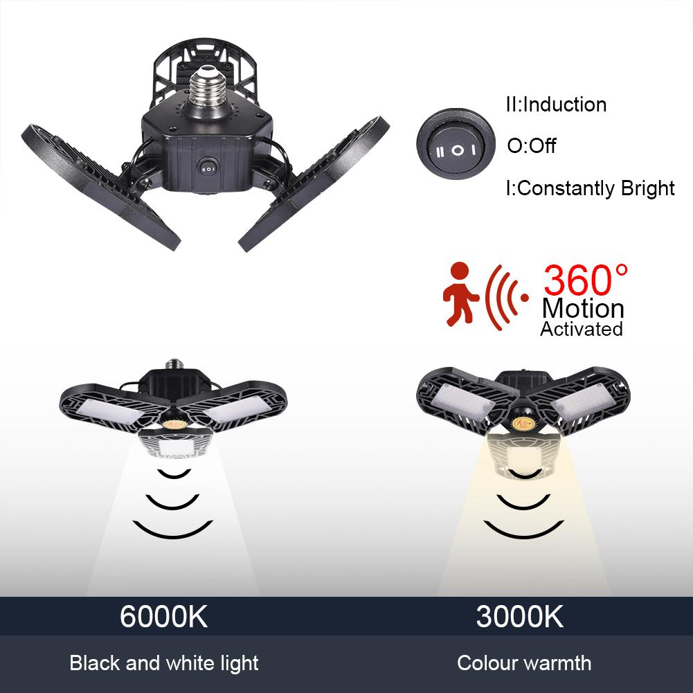 60W 80W Radar Sensor Led Garage Lighting Deform Industrial Lamp 85-265V E27 Led High Bay Light Workshop Parking Warehouse Lights