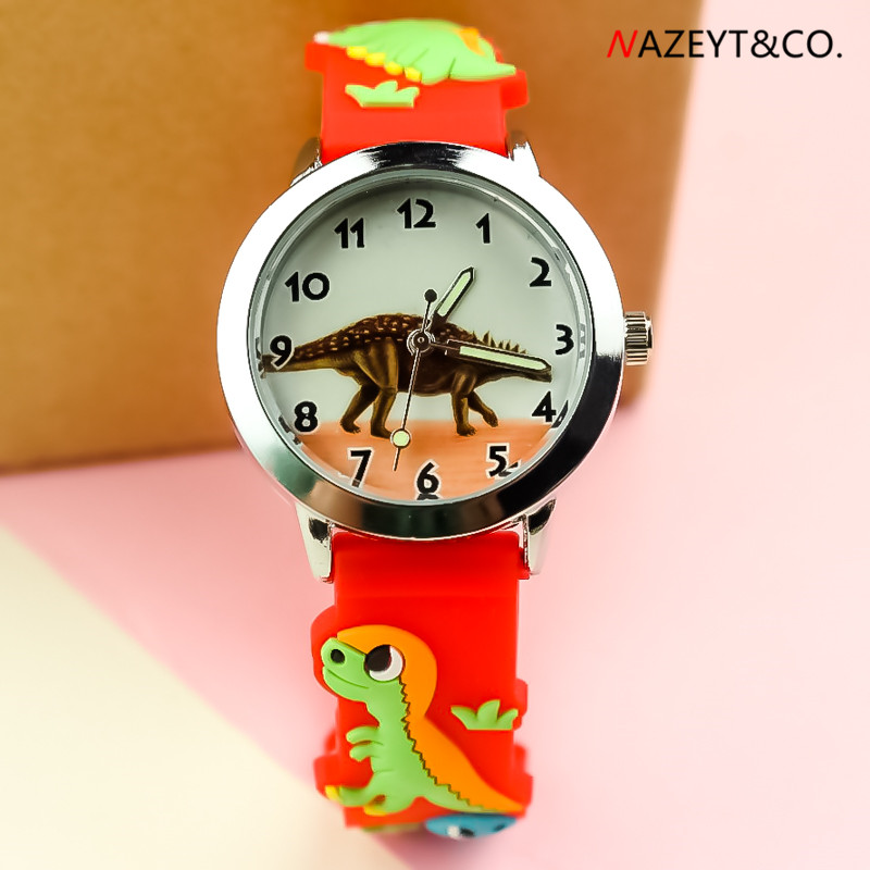 New Arrived Children Luminous Hands 3D Cartoon Dinosaur Face Boys Girs Silicone Strap Wristwatch Kids Sports Gift Clock