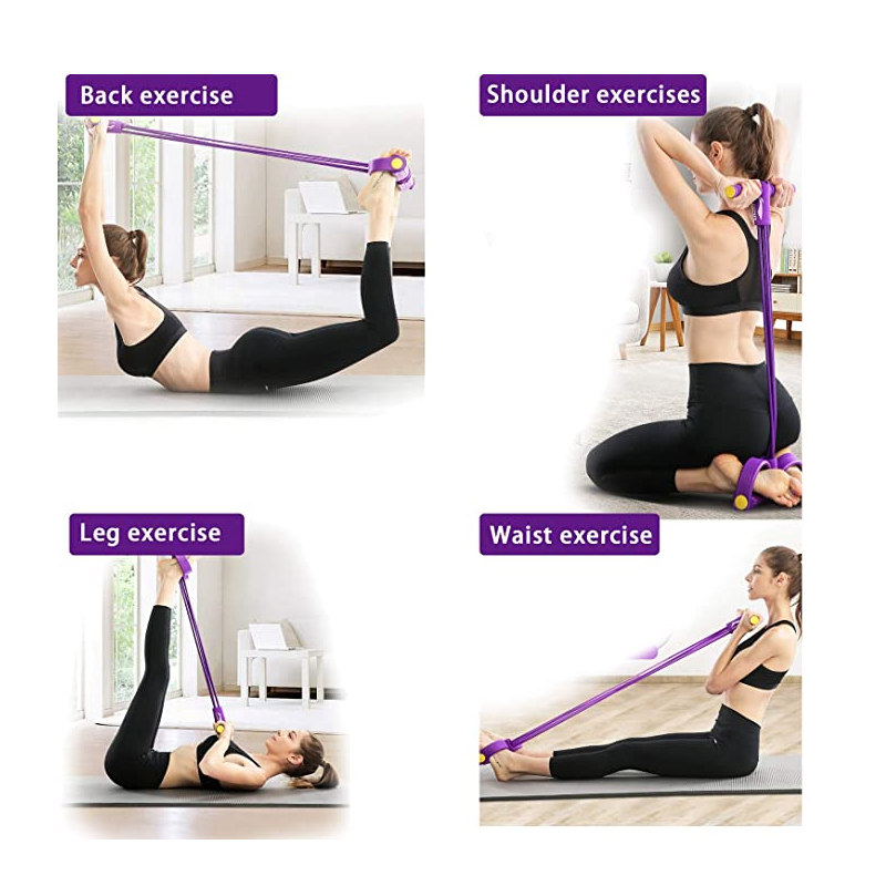 4Tubes Elastisches Sit Up Pull Rope Bauchtrainer Pedal Resistance Band Yoga G2H9