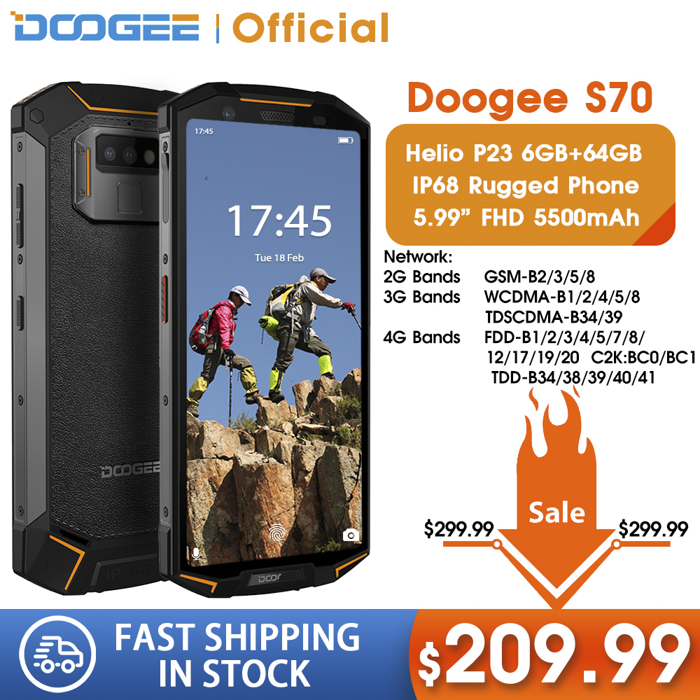 IP68 Waterproof DOOGEE S70 Game Rugge Phone Wireless Charge NFC 5500mAh 12V2A Quick Charge 5.99 FHD Helio P23 Octa Core 6GB 64GB
