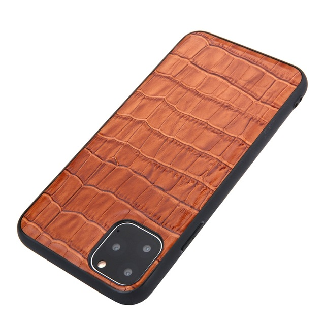 Solque Genuine Leather Crocodile Style Case for iPhone 11/11 Pro/11 Pro Max 1