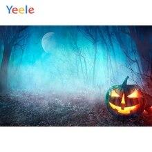 Yeele Photophone Halloween Backdrop Forest Tree Fog Pumpkin Lantern Moon Night Vinyl Photography Background For Photo Studio