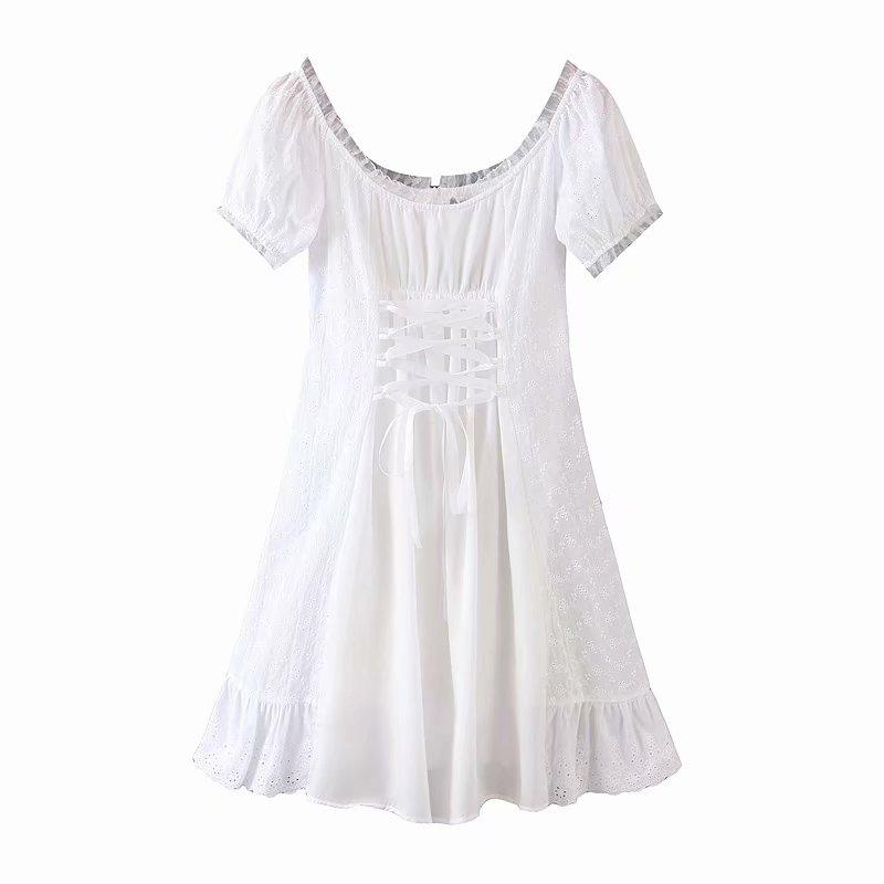 Bazaleas France Lace White embroidery women Dress Vintage Waist Bandage Tie Cross women Dresses Fashion Ruffles vestidos 7