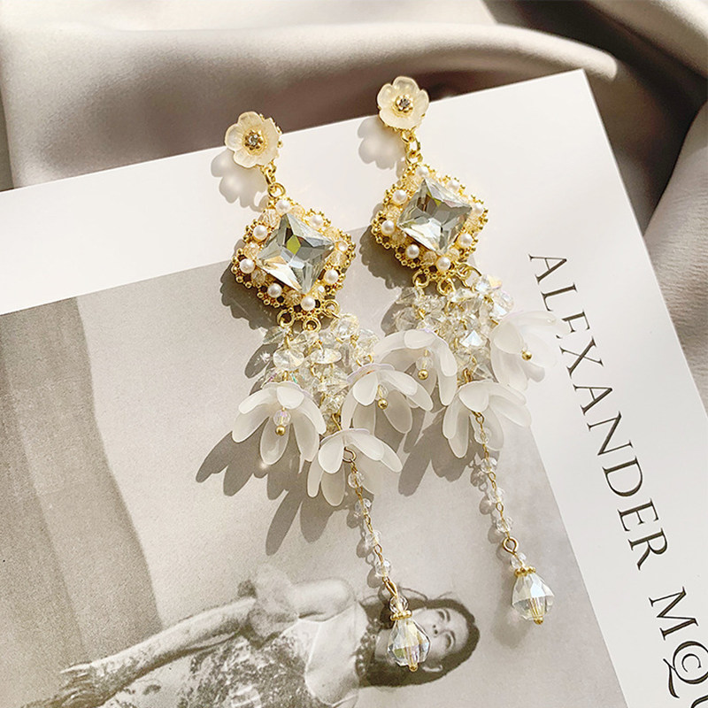 2019 korean New Style Super Fairy Luxury Elegant Long Crystal Flower Tassel Earrings For Female Jewelry