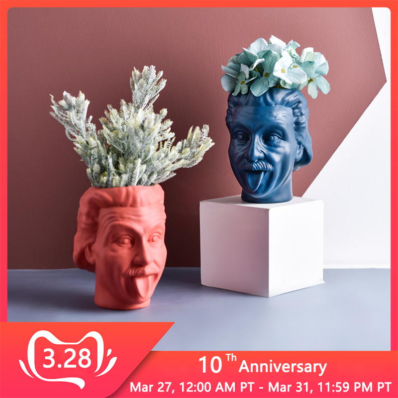 Einstein Avatar Vase Human Head Vase Portrait Flower Pot Pen Holder Storage Tank Flower Arrangement Scientist Statue Ornament