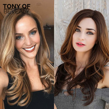 Long Wavy Black Brown Ombre Wigs Synthetic Lace Front Wigs f