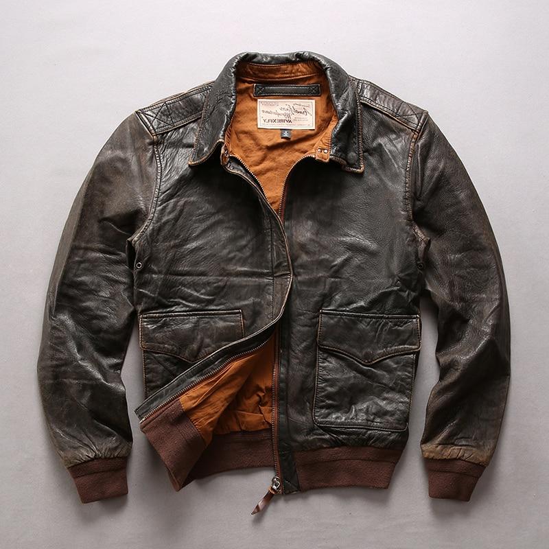 Men's Air Force Flight Solid Genuine Men Motorcycle Biker Leather Coat Bomber Jacket Male