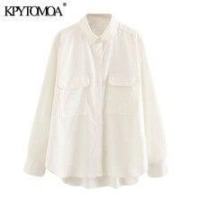 KPYTOMOA Women 2020 Fashion Pockets Loose Blouses Vintage Lapel Collar Long Sleeve Side Vents Female Shirts Blusas Chic Tops