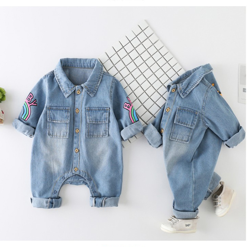 Newborn Baby Romper Spring Denim Jumpsuit Baby Girls Clothes Unisex Baby Clothes Kids Costume For Boys Clothes 0 3 6 12 24 Month