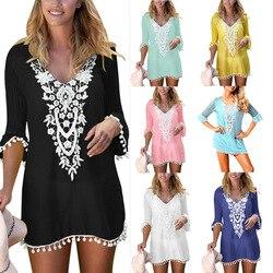 Одежда OWLPRINCESS, новый стиль, v-образный вырез, рукав средней длины, сетчатая кружевная рубашка для волос, Солнцезащитная короткая юбка, платье