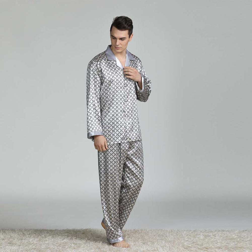 Spring Winter Mens Stain Silk Pajama Set Pajamas Men Sleepwear Modern Style Silk Nightgown Home Male Satin Soft Cozy Sleeping
