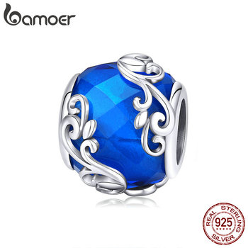 Bamoer Silver 925 Jewelry Blue Round Beads Design Vine Pattern Charm Fit Original Brand Bracelet Sterling Silver Jewelry  BSC231