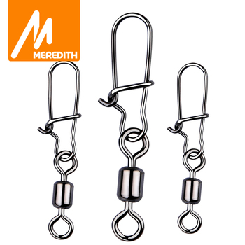 MEREDITH Fishing Connector 50PCS/Lot 2# 4# 6# 8# 10# Pin Bearing Rolling Swivel Stainless Steel With Snap Fishhook Lure Tackle - discount item  15% OFF Fishing