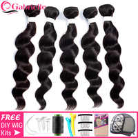 Mechones de cabello humano brasileño ondulado, extensiones de cabello Remy, baratas, 3/5/10 Uds., venta al por mayor