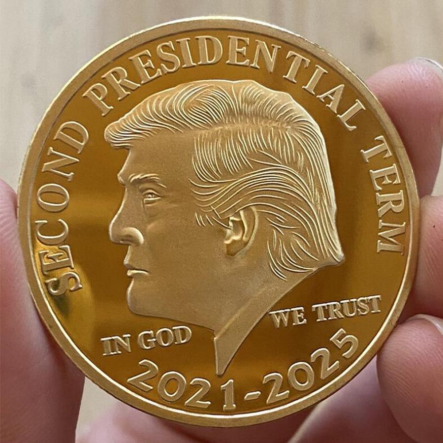 1 шт., Золотая памятная монета США, Дональд Трампа, «во второй президентский срок 2021-2025 В Богу, мы доверяем», коллекционные монеты