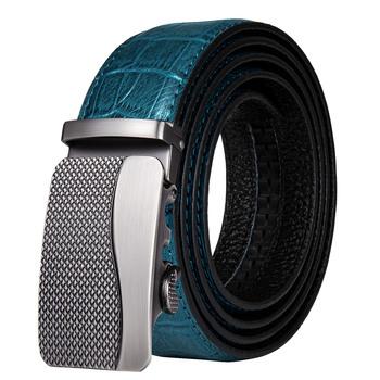 Oryginalne pasy skórzane dla mężczyzn aluminiowe automatyczne pasy męskie czarne pasy pasek ze skóry bydlęcej dla dżinsów moda markowy pasek DiBanGu tanie i dobre opinie Dla dorosłych Metal Cowskin CN (pochodzenie) 3 5cm Stałe DL-0020-LJ-E blue Fashion Mens Leather Belt DiBanGu Designer