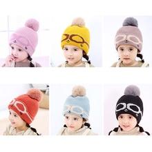 Knit Cartoon Eyes Baby Hat In Girls  Hats Warm Winter With Pom Poms Bonnet Beanies Double Side Caps