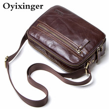 Small Men's Briefcase Genuine Leather Messenger Bag For 7.9