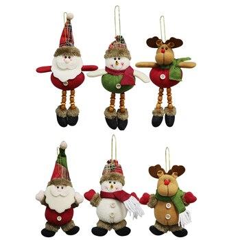30 pcs Christmas Tree Plush Hanging Ornaments Xmas Decorations Festive Season Pendant Santa/Snowman/Reindeer Holiday Party Decor