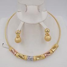 Hoge Kwaliteit Ltaly 750 Goud kleur Sieraden Voor Vrouwen afrikaanse kralen jewlery mode ketting set oorbel sieraden