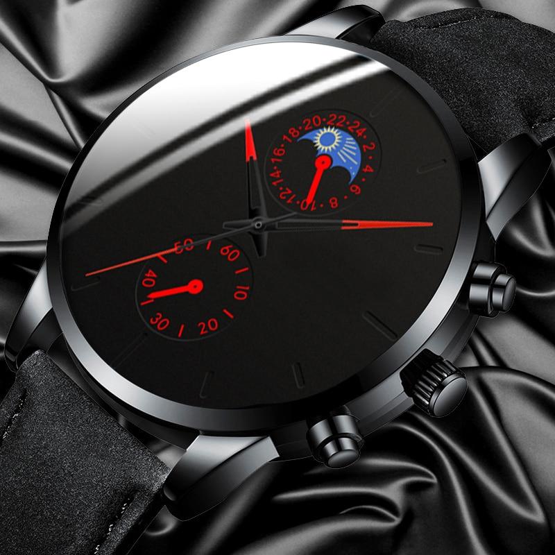 Minimalist Fashion Men's Watch Luxury Business Casual Black Leather Watches Classic Male Wrist Watch Analog Clock Herren Uhren