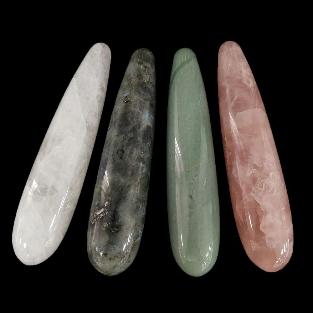 Natural Rose Quartz Crystal Hand Carved Massage Wand