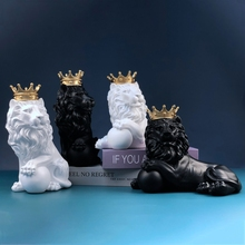 Crown Lion Sculpture Home Office Bar Male Lion Faith Resin Statue Living Room TV Crafts Animal Ornaments Abstract Art Decor Gift
