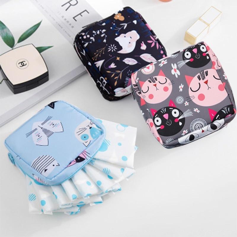 Women Girl Sanitary Napkin Bag Towel Storage Bag Makeup Travel Zipper Box Card Holder Wallet Cosmetic Earphone Storage Box