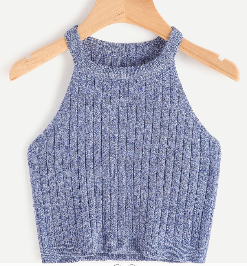 Knitted Korean Version Of The Vest Female Short Crop  Coat Priming Camisole Slim Polyester Knitted TankTops Short Solid Casual