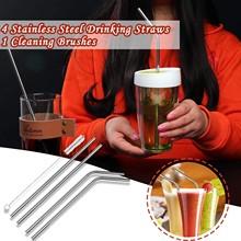 4 szt Wielokrotnego użytku szklane słomki Smoothie słomka do napojów mlecznych mrożone napoje przyjazne dla środowiska zestaw słomek do napojów tanie tanio CN (pochodzenie) Z tworzywa sztucznego