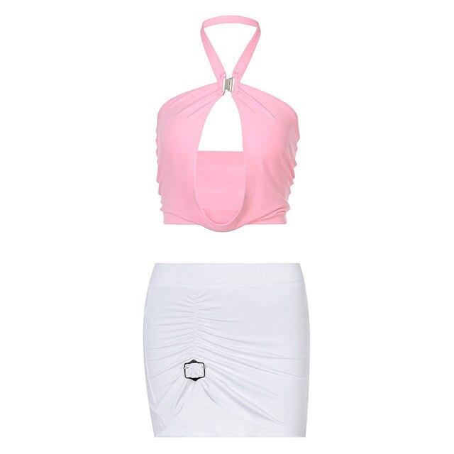 Shestyle-Conjuntos de dos piezas para mujer, ropa de playa Sexy, Rosa dulce, Espalda descubierta, Halter camisola, minifaldas, ropa de club, ropa de playa de retales 2021 6