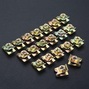 Image 1 - 20 sztuk uniwersalny prawo jazdy płyta zapięcie klip mocujący klamra metalowa śruba nakrętka u type klipy ustalający 6mm J139