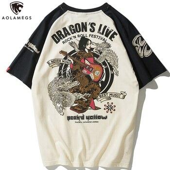 цены Aolamegs Men T-Shirt Japanese Geisha Dragon Print T Shirts Harajuku Baggy Raglan Sleeve Casual Tshirt Cotton Summer Streetwear